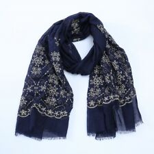 New Women Scarf Gold Floral Embroidered Lace Trendy Hijab Wraps Shawl Pashimina