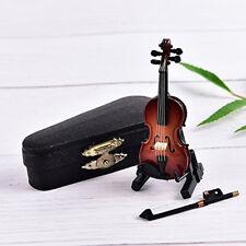 Mini Violin Dollhouse Miniature Musical Instrument Wooden Model Decorative DB