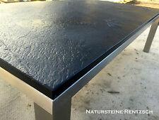 Couchtisch Beistelltisch Natursteinplatte Schiefer schwarz & Edelstahlgestell