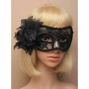 Lace Masquerade Mask With Black Cosplay Halloween Party Flower Womens Masks Eye