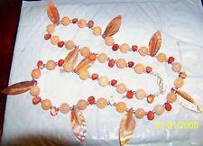 "Gorgeous Peach Quartzite 12mmBeads with MOP Leaves & Petals,SilvertoneS-Clasp33"""