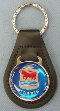 Vintage Blue MORRIS Motor Co. Black Leather Keyring Plain Key Fob Key Holder