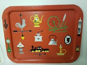 Vintage Retro Metal TV Bed Lap Serving Tray Rooster Teapot Train Lamp