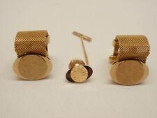 MCM Cufflinks Mesh Wrap Around Vintage Gold Plate Simmons Karatclad Tie Tack