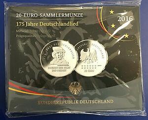 BRD - 20 Euro Sammlermünze 175 Jahre Deutschlandlied 2016 Spiegelglanz OVP