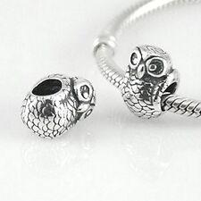 OWL - Bird - Wisdom- Animal - Solid 925 sterling silver European charm bead