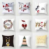 "18"" Christmas Cushion Cover Pillow Case Square Festive Sofa Bed Home Décor Xmas"