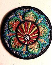 "(H11) OM LOTUS FLOWER 3"" iron on patch INFINITY Hindu Retro Boho"