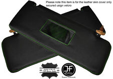 GREEN STITCHING 2X SUN VISORS LEATHER COVERS FITS MERCEDES W123 1978-1985