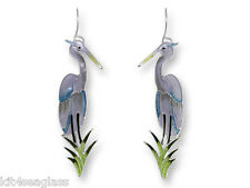 Zarah GREAT BLUE HERON Earrings Sterling Silver Plated Bird + Gift Wrapped Box