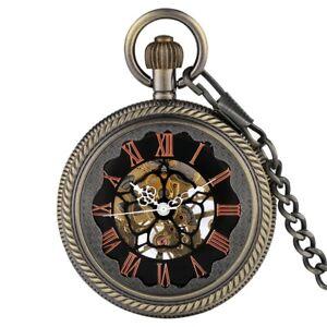 Skeleton Mechanical Pocket Watch Hand-Winding Glass Case Pendant Chain Men Gifts