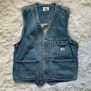 Vintage 90s Calvin Klein 3 Pocket Denim Jean Vest CK Mens S Large 100% Cotton