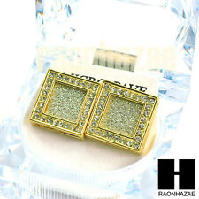 Square Earrings Large Micro Pave Gold Tone Hip Hop Iced 18mm Big Bling GE138