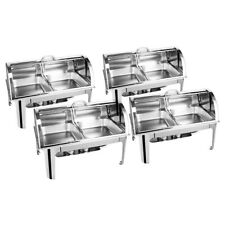 SOGA 4x Dual Tray Round Roll Top 2 4.5l Stainless Steel Chafing Dish With Stand