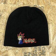 vintage YUGIOH cuffless beanie hat logo yugi black adult size