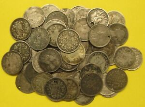 Lot of 64 Canada Silver 5 Cent Damaged Take a Look