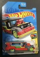 2021 Hot Wheels 20/250 ROAD BANDIT 2/10 HW ART CARS ~ RED Jeepster Bus Taxi