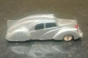 "1930s Vintage Silver Sedan By Hubley  USA White Wheels 5 1/4"" original paint"