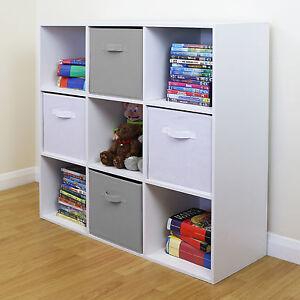 9 Cube Kids Grey & White Toy/Games Storage Unit Girls/Boys Bedroom Shelves/Boxes