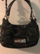 Coach purse black, cloth hippie signature crossbody