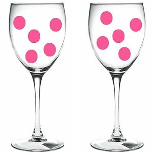 90 x pink polka dots / polka dots WINE GLASS VINYL STICKERS / DECAL xmas