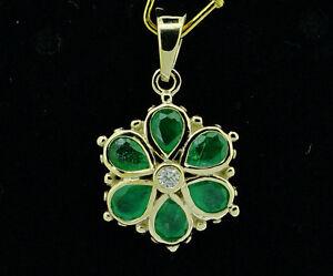 Natural Emerald Leaf Tassel Handmade 925 Sterling Silver Pendant 2 D1841