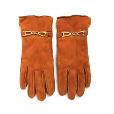 Alexander's Vintage Leather Cowhide Womens Gloves with Gold Metal Detail Medium
