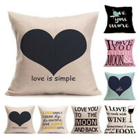 Words Cover Square Cotton Linen Pillow Case Love Print Cushion Throw Decor Sofa