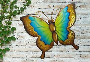 Creekwood Vibrant Green Butterfly Metal Glass Garden Wall Art