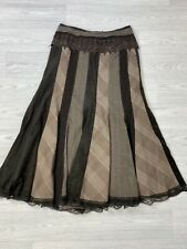 PER UNA Brown Tweed Panel Flare Flippy Skirt With Lace Band 10s