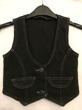 Used Girls Dark Blue Denim Look Waistcoat Age 4-6 Years