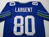 STEVE LARGENT / NFL HALL OF FAME / AUTOGRAPHED SEAHAWKS BLUE CUSTOM JERSEY / COA
