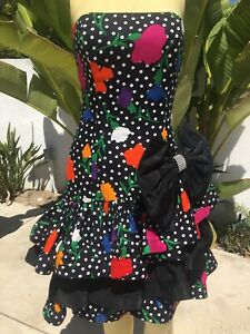AMAZING Vintage 80s Strapless Party Dress Huge  Bow Asymmetrical Hem XS/S