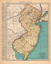 VINTAGE PRE-WW II '38 MAP NEW JERSEY 1930 CENSUS DATA ATLANTIC SEASHORE
