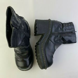 Vintage L.e.i Chunky Heel Black Combat Ankle Boots Size 9