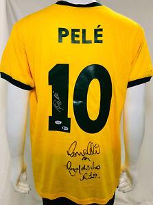 Brazil Ronaldinho, Ronaldo and Pele Signed Soccer Jersey - Auto Becket BAS LOA