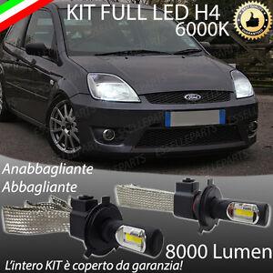 KIT FULL LED FORD FIESTA MK5 LAMPADE LED H4 6000K BIANCO GHIACCIO NO ERROR