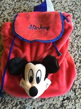 Licensed Disney MICKEY MOUSE PLUSH HEAD DOLL BACKPACK Red & black Tote Bag NEW!!