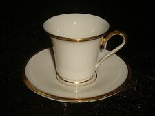 LENOX ETERNAL Ivory Gold Trim Greek Coffee small Cup & Saucer rare set 1980s