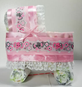 Diaper Cake Bassinet/Carriage - Pink and Gray Elephants Theme with White