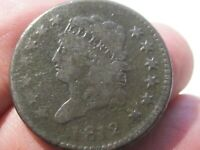 1812 Classic Head LARGE CENT - Large Date - Very Good Cond - Lot# AW-45