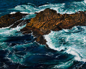 Robert West Charisma Carmel California Coast Ocean Oil Painting on Canvas 24x30