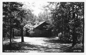 RPPC CABIN CHEWACLA STATE PARK AUBURN ALABAMA CLINE REAL PHOTO POSTCARD (1940s)