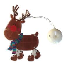 RENNA NATALE FINESTRA Batteria luce con ventosa GANCIO – LED Rudolph bambini