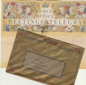 ENGLAND old Rare Greeting Telegram & Cover Tied Blue Cds ESSEX & Receipt 1937