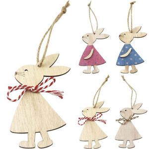 DIY Easter Gifts Lovely Bunny Rabbit Wooden Ornaments Wood Hanging Craft Decor
