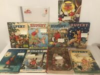 "Rupert The Bear Annual's 1938-60-70-72-73-75-77-79 Unclipped + Stamp + 7"" Vinyl"