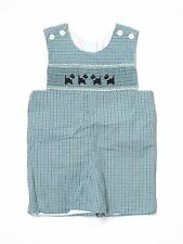 Boy Remember Nguyen Smocked Holiday Scotty Dog Plaid Romper Jon John Size 4