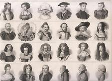 Acconciature antiche dal 1500 al 1800 capelli   storia costume , 1850  bulino