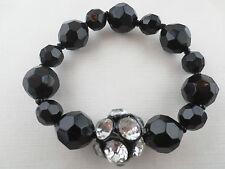 PREMIER QUALITY Faceted Black/Crystal Rhinestone Bead Design Bracelet